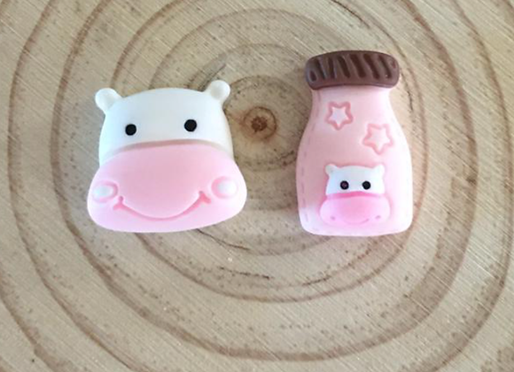 Handmade cow and milk bottle stud earrings