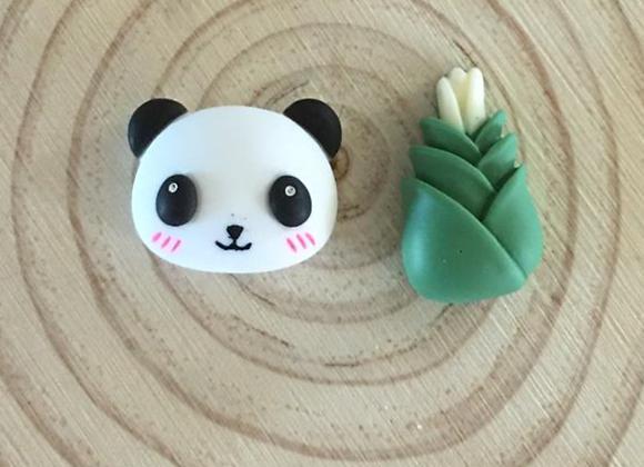 Handmade panda and bamboo stud earrings
