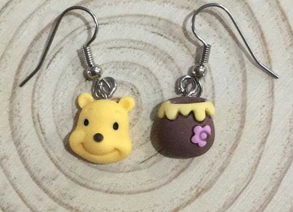 Bear and honey pot earrings