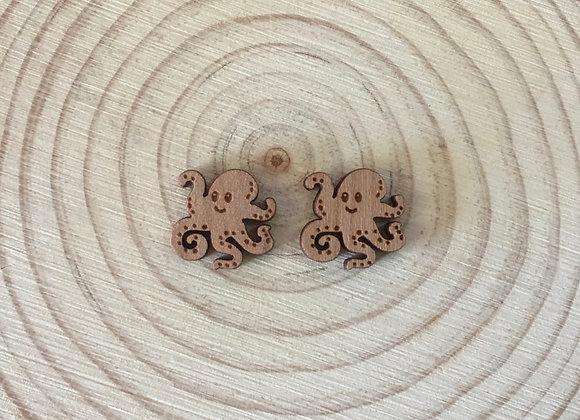 Wooden Laser Cut Octopus Stud Earrings