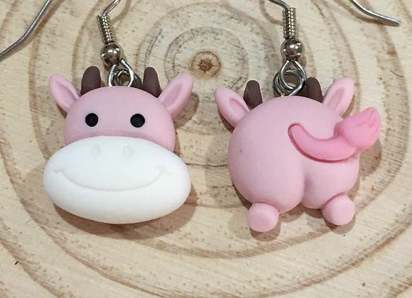 Handmade pink cow earrings