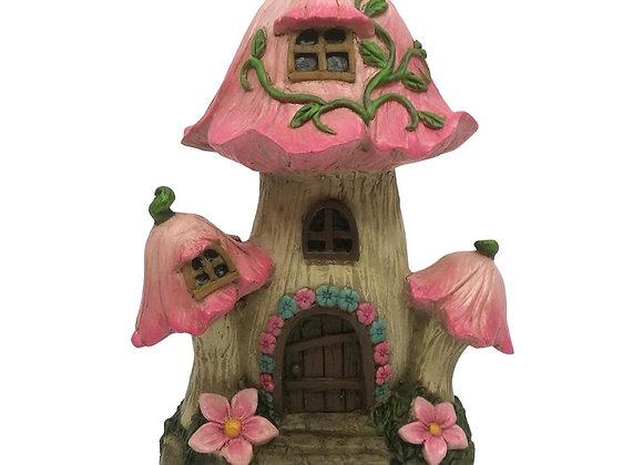 Pink Mushroom Flower Fairy House