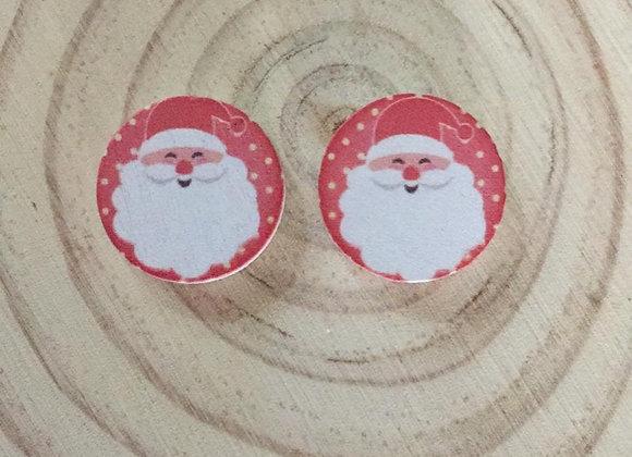 Wooden Santa handmade Christmas earring