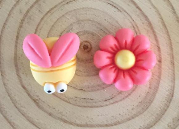 Handmade butterfly and flower stud earrings