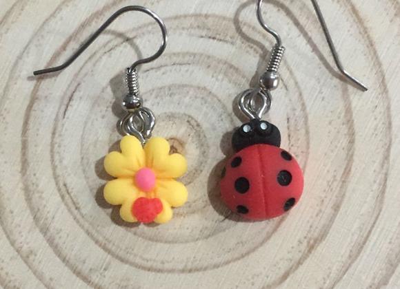 Ladybug and flower earrings