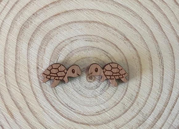 Wooden Laser Cut Turtle Stud Earrings