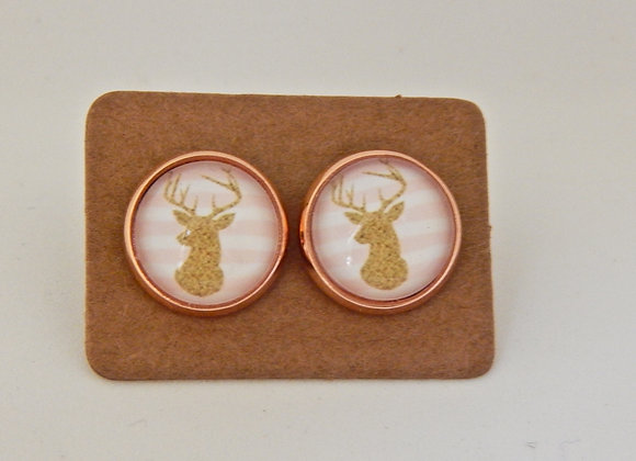 Deer Head Glass Dome Earrings