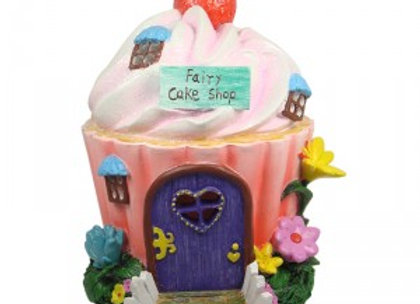 Solar Powered Cupcake Shop Fairy House