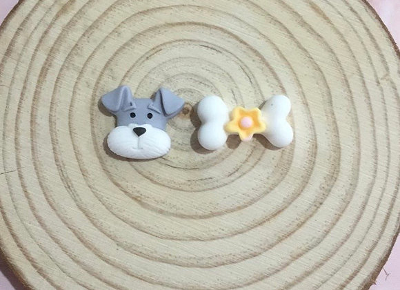 Handmade dog and bone stud earrings