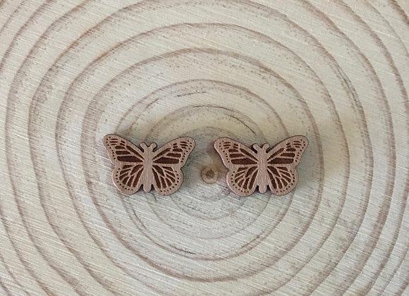 Wooden Laser Cut Butterfly Stud Earrings
