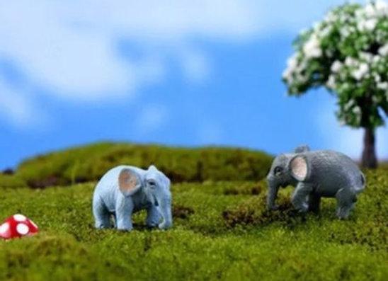 Fairy Garden Miniature Elephants set of 2