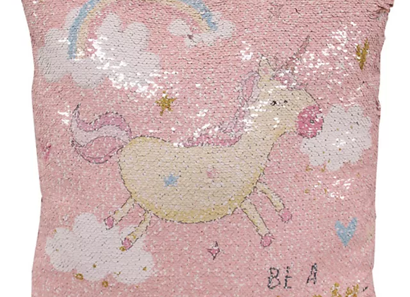Reversible unicorn sequin cushion