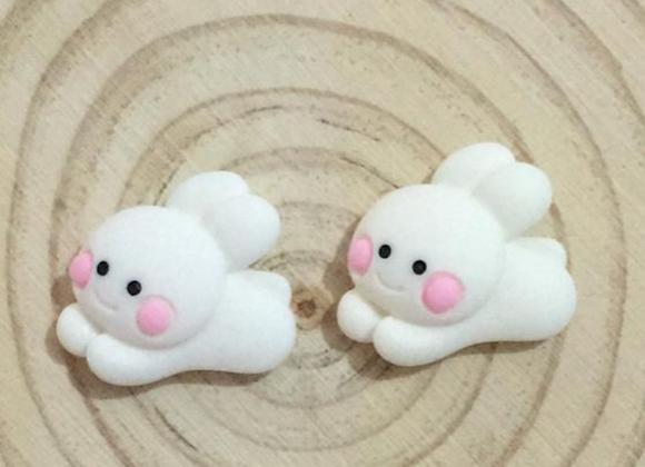 White bunny stud earrings