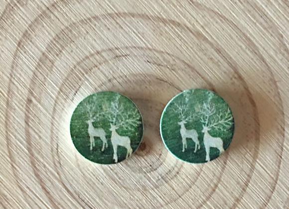 Handmade wooden earrings.
