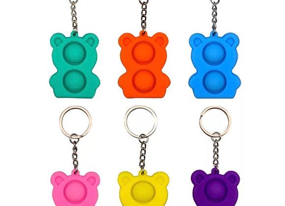 Pop it bear keychain
