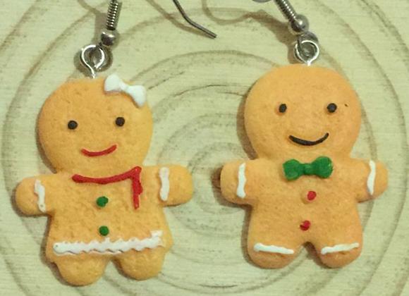 Handmade gingerbread man earrings