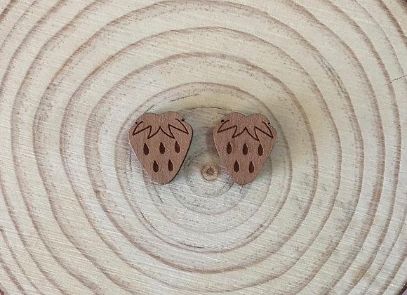 Wooden Laser Cut Strawberry Stud Earrings