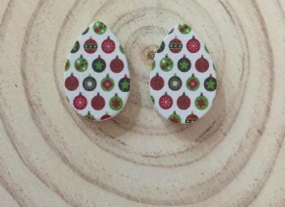 Wooden handmade Christmas earrings