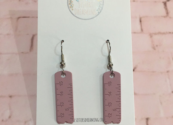 Handmade tape measure earrings