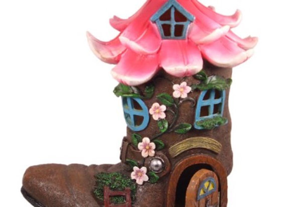 LED Flower Boot House w/Opening Door