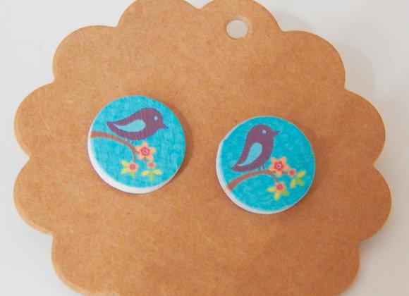 Wooden Blue Bird Earrings