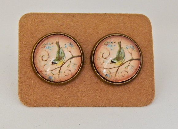 Bird Branch Glass Dome Earrings