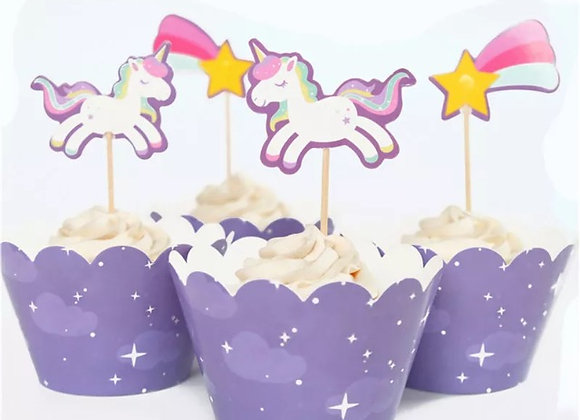 Unicorn cupcake toppers and cup kit