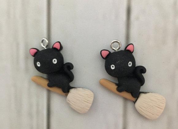 Preorder  Halloween cat on brooms dangle earrings