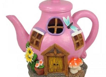 Solar Fairy Garden Pink Teapot House