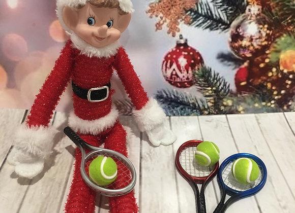 Elf sized tennis racket and ball random colour