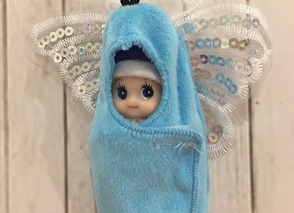 Blue butterfly wrap for baby and toddler elf