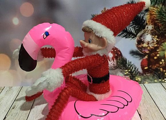 Elf size flamingo pool toy
