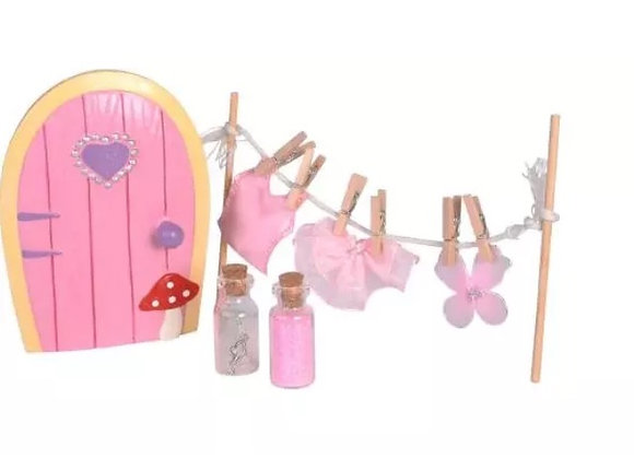 Pink fairy door with clothes line