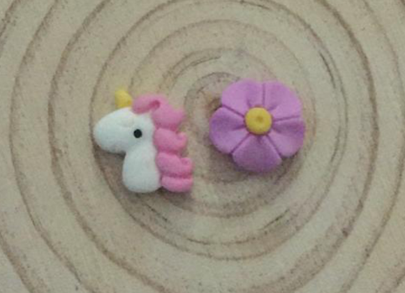 Small unicorn and flower earrings