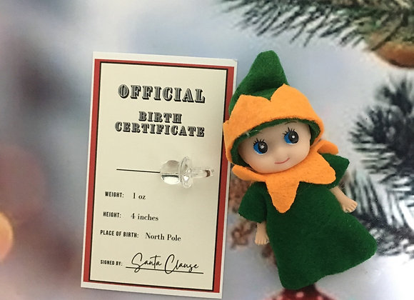 Halloween elf baby with birth certificate and dummy