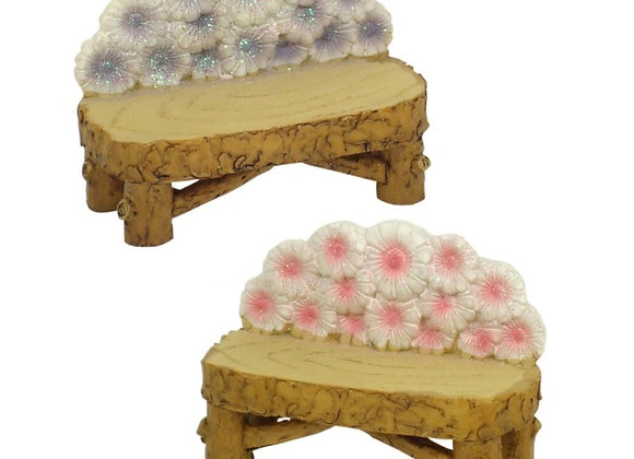 Fairy garden flower bench seat