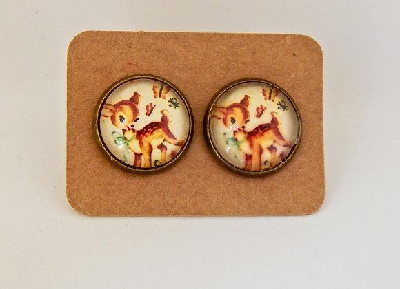Retro Deer Glass Dome Earrings