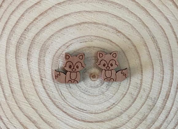 Wooden Laser cut Fox Stud Earrings