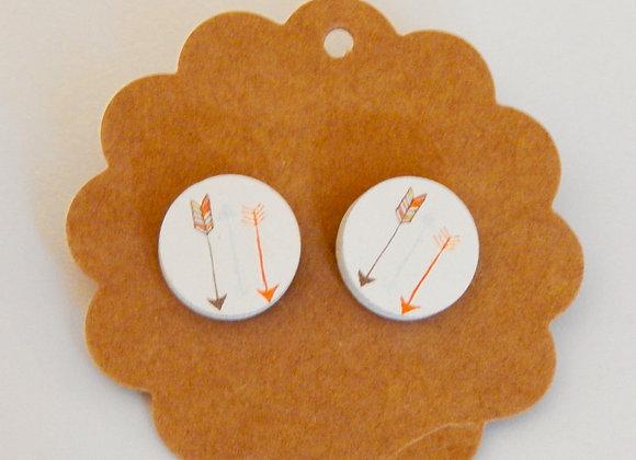 Wooden Printed Arrow Earrings