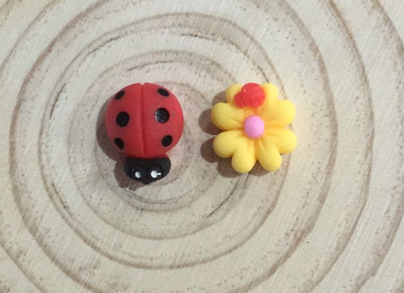 Handmade ladybug and flower earrings