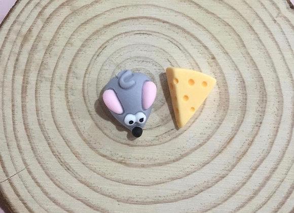Handmade mice abd cheese stud earrings