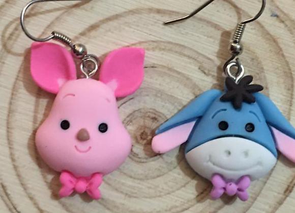 piglet and eeyor dangle earrings