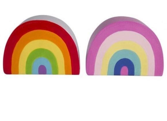 Wooden rainbow money box