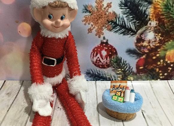 Elf sized elf baby gift basket