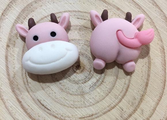 Pink cow stud earrings