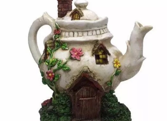 Solar Powered Fairy Garden Teapot House