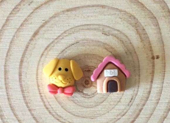Small dog and kennel earrings