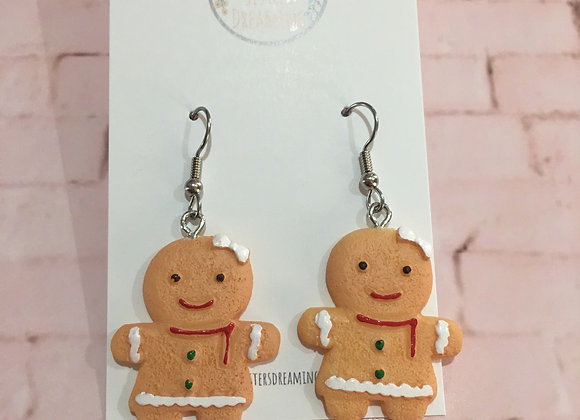 Handmade gingerbread man earrings