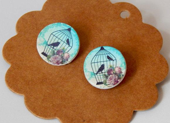 Wooden Bird in a Cage Earrings