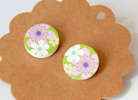 Wooden Retro Floral Earrings